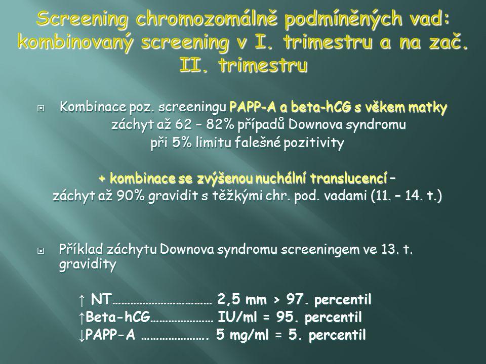 Screening chromozomálně podmíněných vad: kombinovaný screening v I