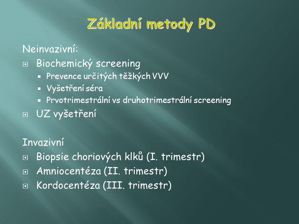 Základní metody PD Neinvazivní: Biochemický screening UZ vyšetření