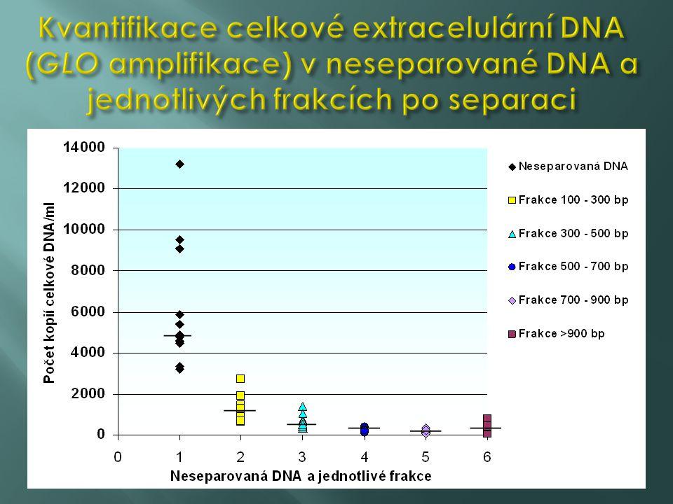 Kvantifikace celkové extracelulární DNA (GLO amplifikace) v neseparované DNA a jednotlivých frakcích po separaci