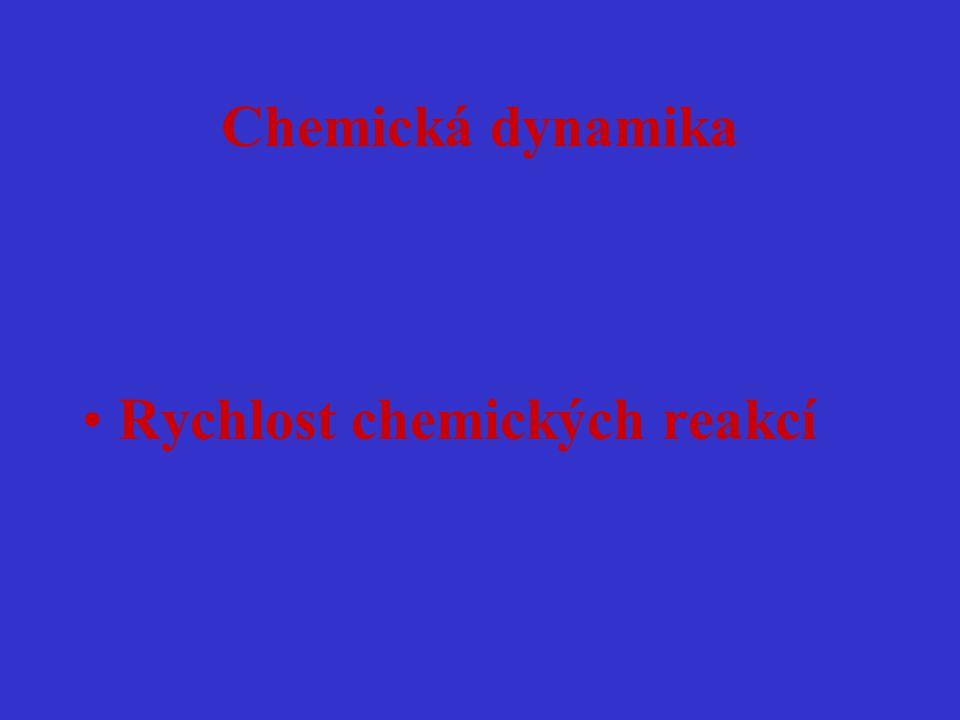 Chemická dynamika Rychlost chemických reakcí