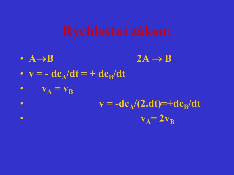 Rychlostní zákon: AB 2A  B v = - dcA/dt = + dcB/dt vA = vB