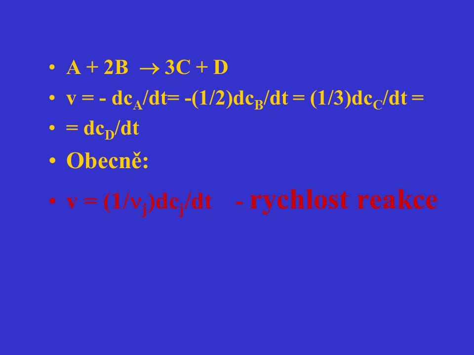 v = (1/j)dcj/dt - rychlost reakce