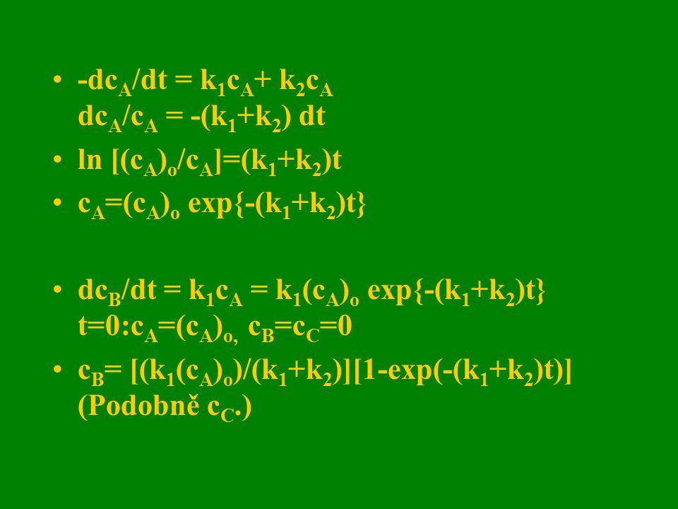 -dcA/dt = k1cA+ k2cA dcA/cA = -(k1+k2) dt