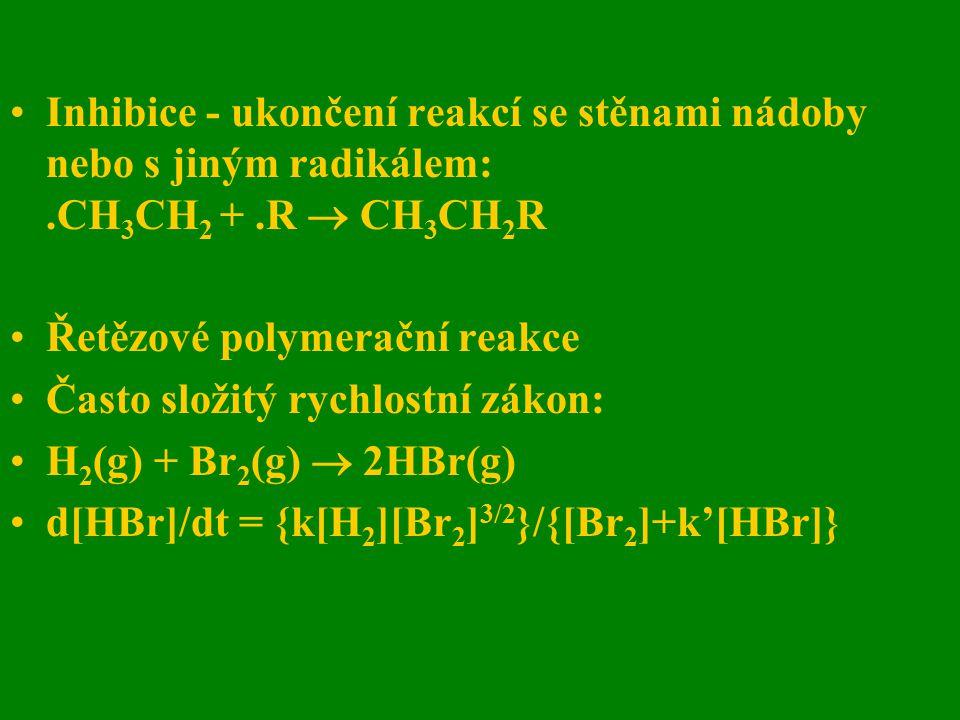 Inhibice - ukončení reakcí se stěnami nádoby nebo s jiným radikálem: