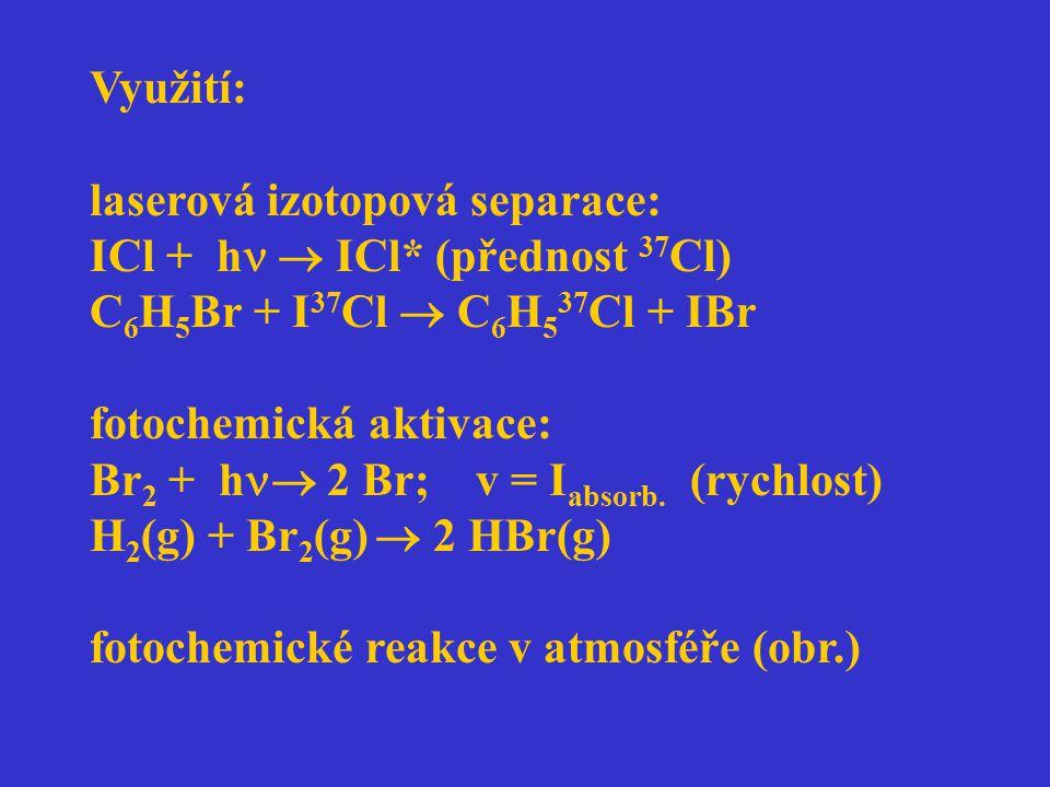 Využití: laserová izotopová separace: ICl + h  ICl* (přednost 37Cl) C6H5Br + I37Cl  C6H537Cl + IBr.