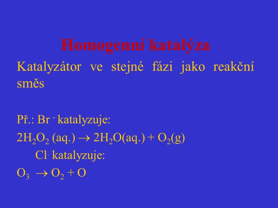 Homogenní katalýza Katalyzátor ve stejné fázi jako reakční směs