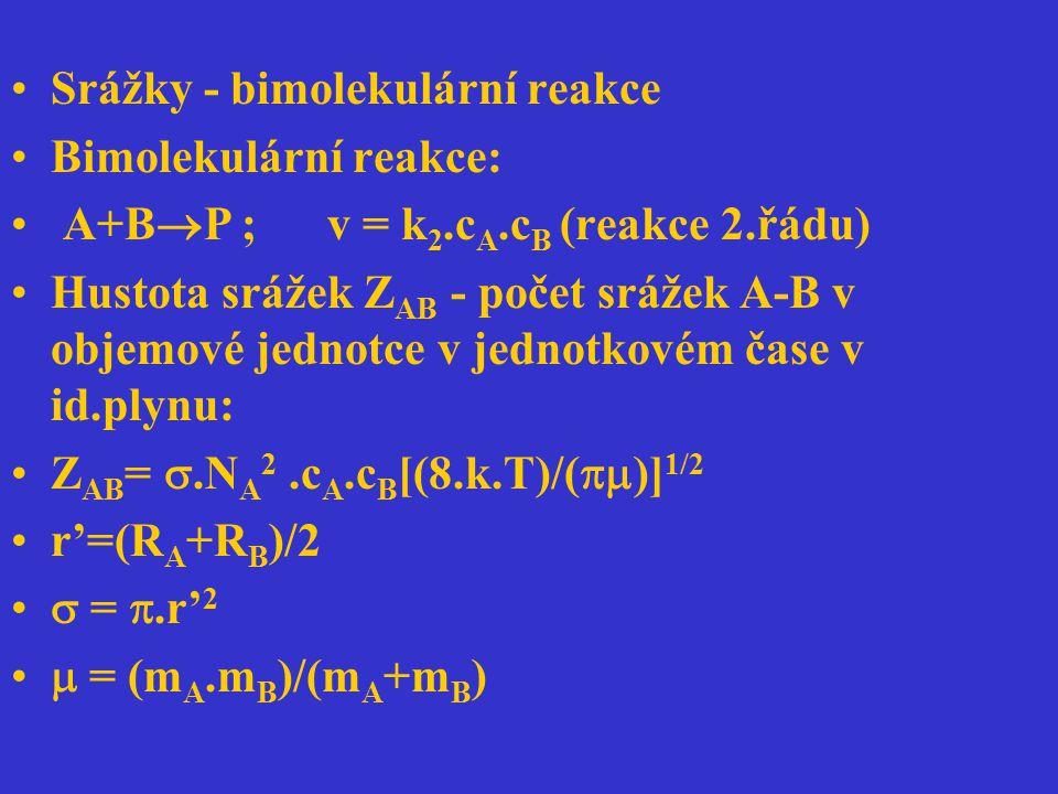 Srážky - bimolekulární reakce