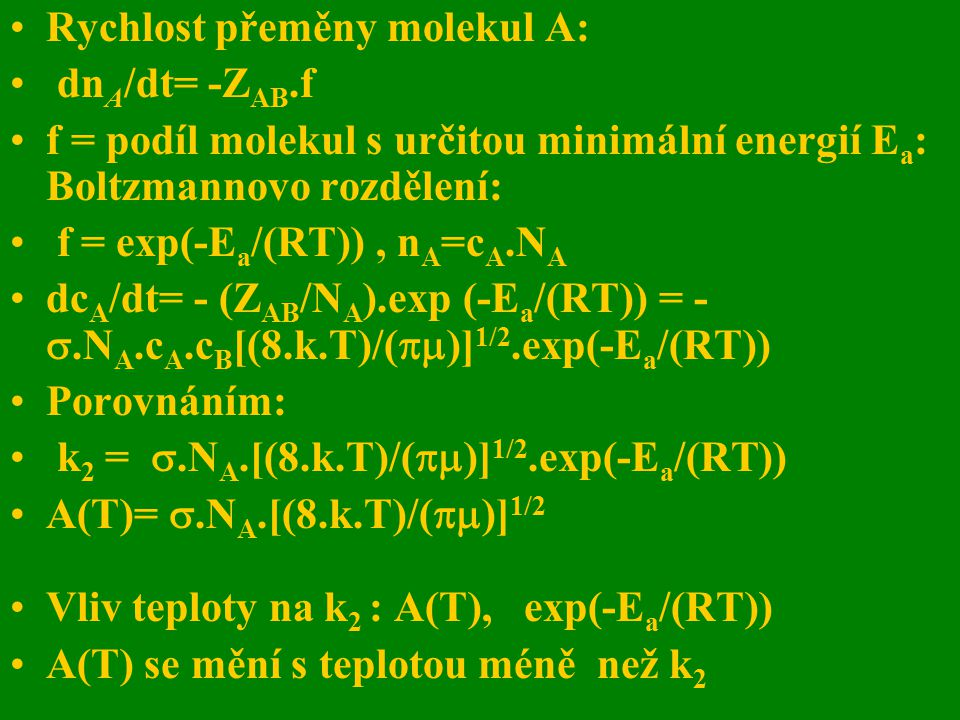 Rychlost přeměny molekul A: