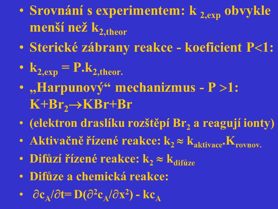 Srovnání s experimentem: k 2,exp obvykle menší než k2,theor