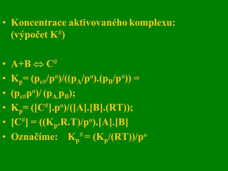 Koncentrace aktivovaného komplexu: (výpočet K)