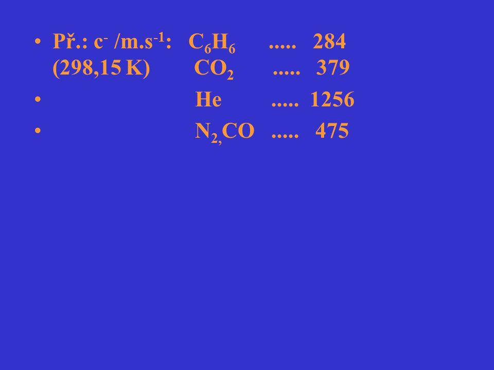Př.: c- /m.s-1: C6H6 ..... 284 (298,15 K) CO2 ..... 379 He ..... 1256.