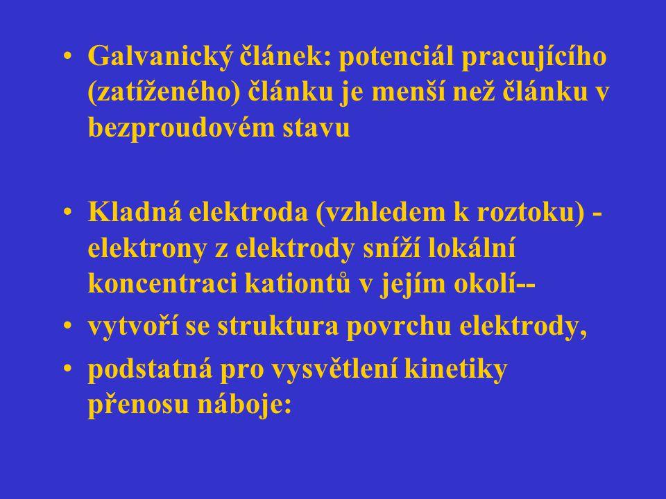 Galvanický článek: potenciál pracujícího (zatíženého) článku je menší než článku v bezproudovém stavu