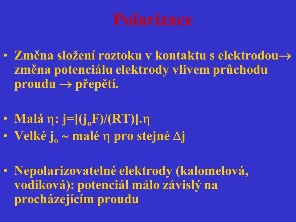 Polarizace Změna složení roztoku v kontaktu s elektrodou změna potenciálu elektrody vlivem průchodu proudu  přepětí.
