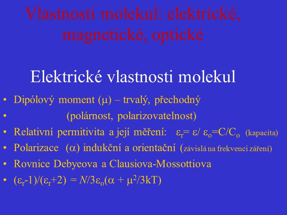 Vlastnosti molekul: elektrické, magnetické, optické Elektrické vlastnosti molekul
