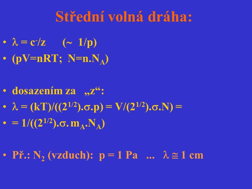 Střední volná dráha:  = c-/z ( 1/p) (pV=nRT; N=n.NA)