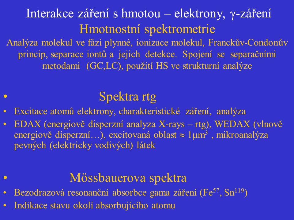 Interakce záření s hmotou – elektrony, -záření Hmotnostní spektrometrie Analýza molekul ve fázi plynné, ionizace molekul, Franckův-Condonův princip, separace iontů a jejich detekce. Spojení se separačními metodami (GC,LC), použití HS ve strukturní analýze