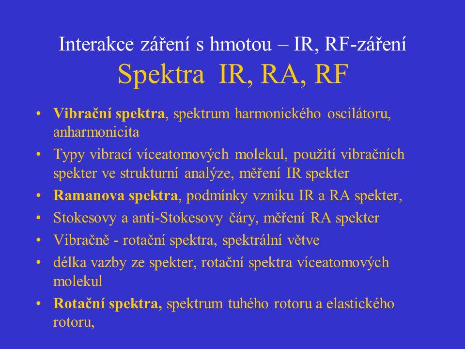 Interakce záření s hmotou – IR, RF-záření Spektra IR, RA, RF