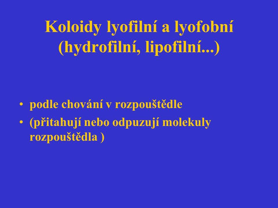 Koloidy lyofilní a lyofobní (hydrofilní, lipofilní...)