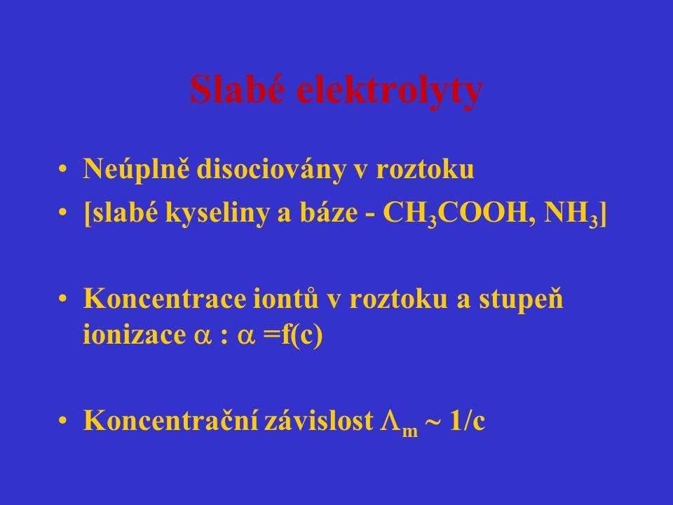 Slabé elektrolyty Neúplně disociovány v roztoku