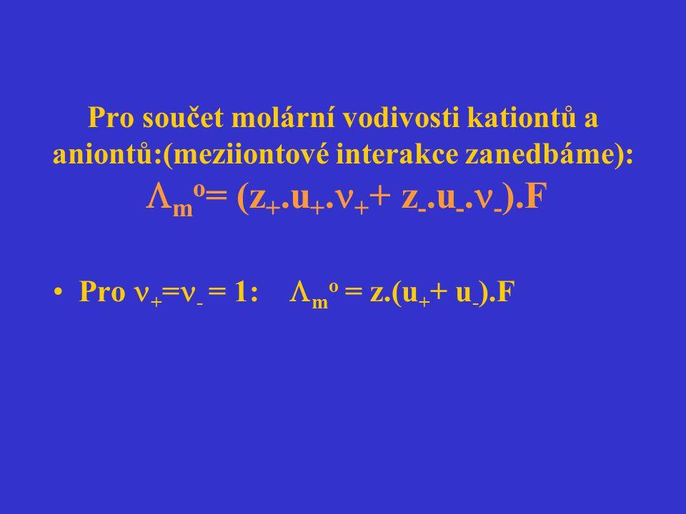 Pro součet molární vodivosti kationtů a aniontů:(meziiontové interakce zanedbáme): mo= (z+.u+.++ z-.u-.-).F