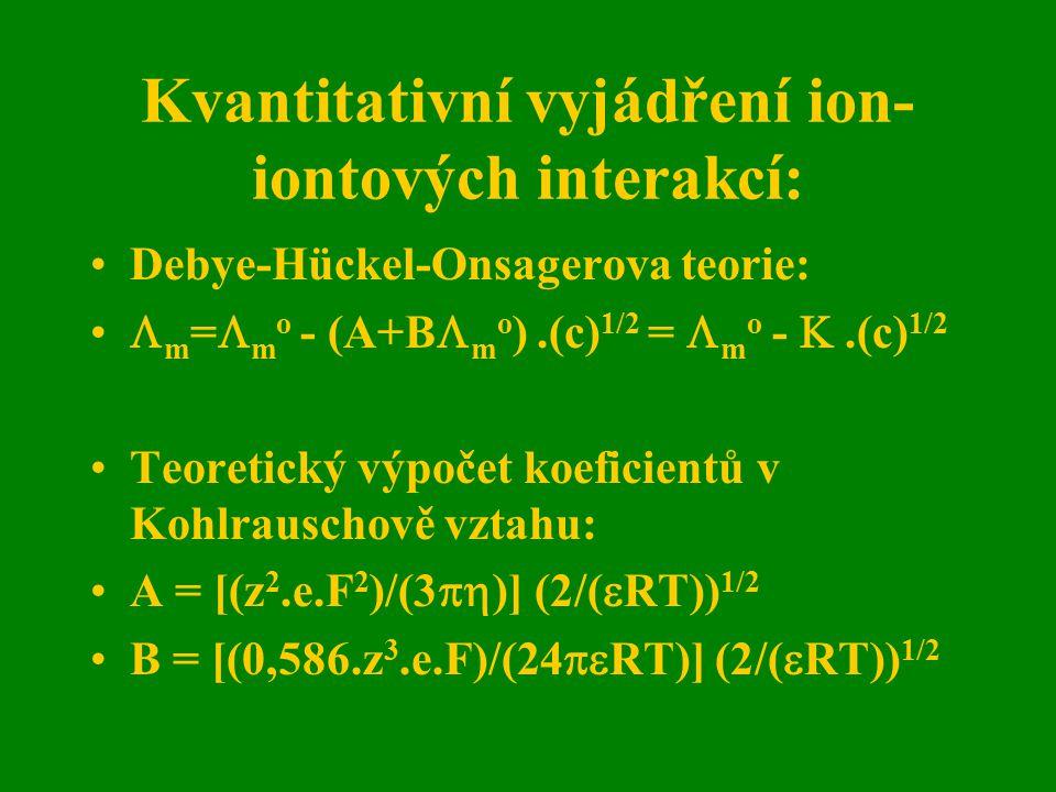Kvantitativní vyjádření ion-iontových interakcí: