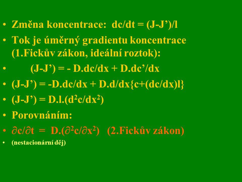 Změna koncentrace: dc/dt = (J-J')/l