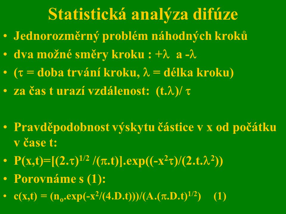 Statistická analýza difúze