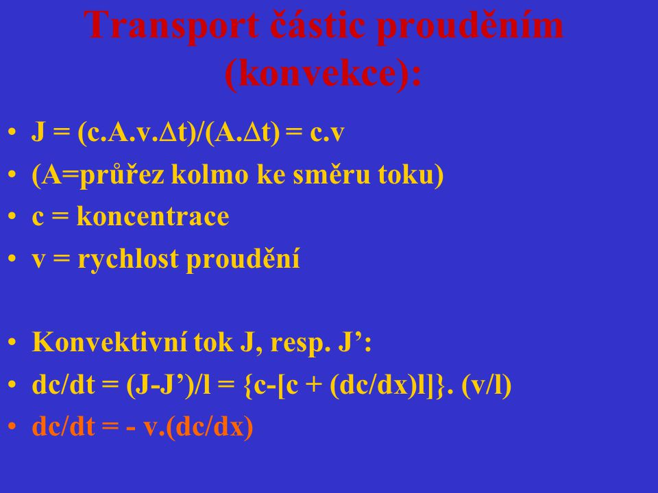 Transport částic prouděním (konvekce):