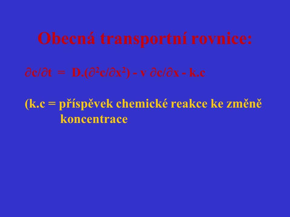 Obecná transportní rovnice:
