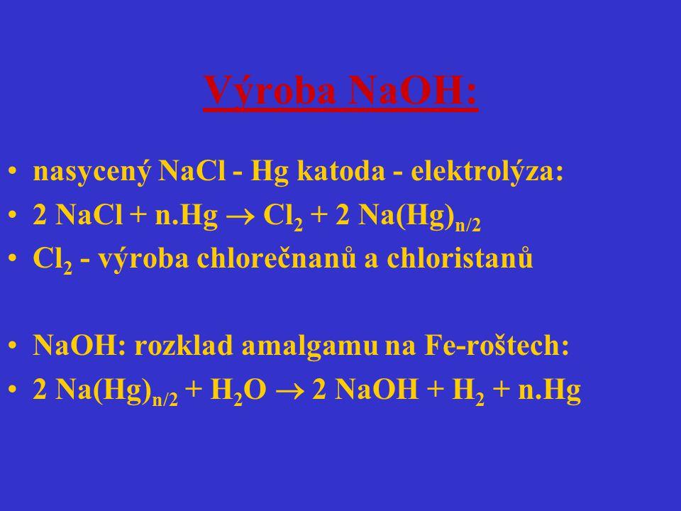 Výroba NaOH: nasycený NaCl - Hg katoda - elektrolýza: