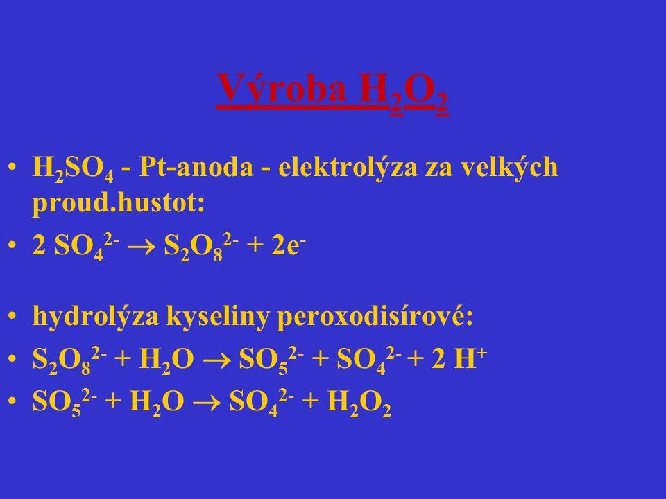 Výroba H2O2 H2SO4 - Pt-anoda - elektrolýza za velkých proud.hustot: