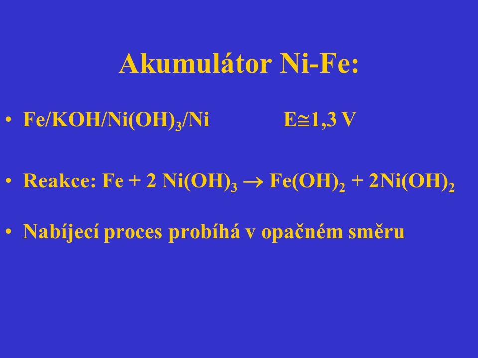 Akumulátor Ni-Fe: Fe/KOH/Ni(OH)3/Ni E1,3 V