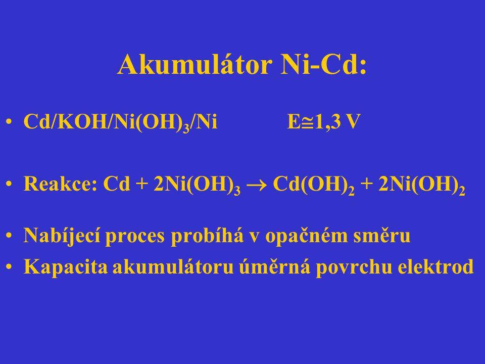 Akumulátor Ni-Cd: Cd/KOH/Ni(OH)3/Ni E1,3 V