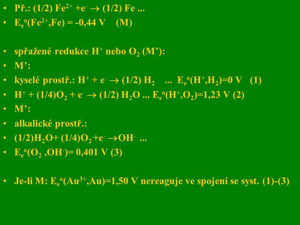 Př.: (1/2) Fe2+ +e-  (1/2) Fe ... Eeo(Fe2+,Fe) = -0,44 V (M) spřažené redukce H+ nebo O2 (M'):