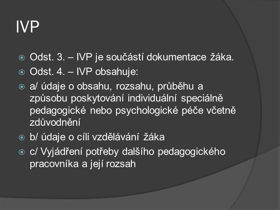 IVP Odst. 3. – IVP je součástí dokumentace žáka.