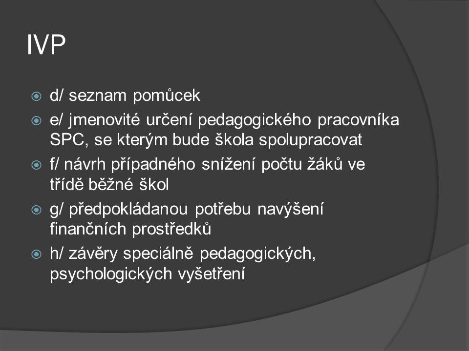 IVP d/ seznam pomůcek. e/ jmenovité určení pedagogického pracovníka SPC, se kterým bude škola spolupracovat.