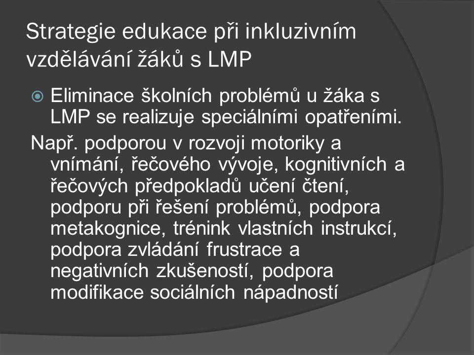 Strategie edukace při inkluzivním vzdělávání žáků s LMP