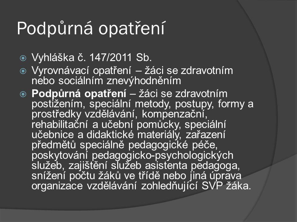 Podpůrná opatření Vyhláška č. 147/2011 Sb.