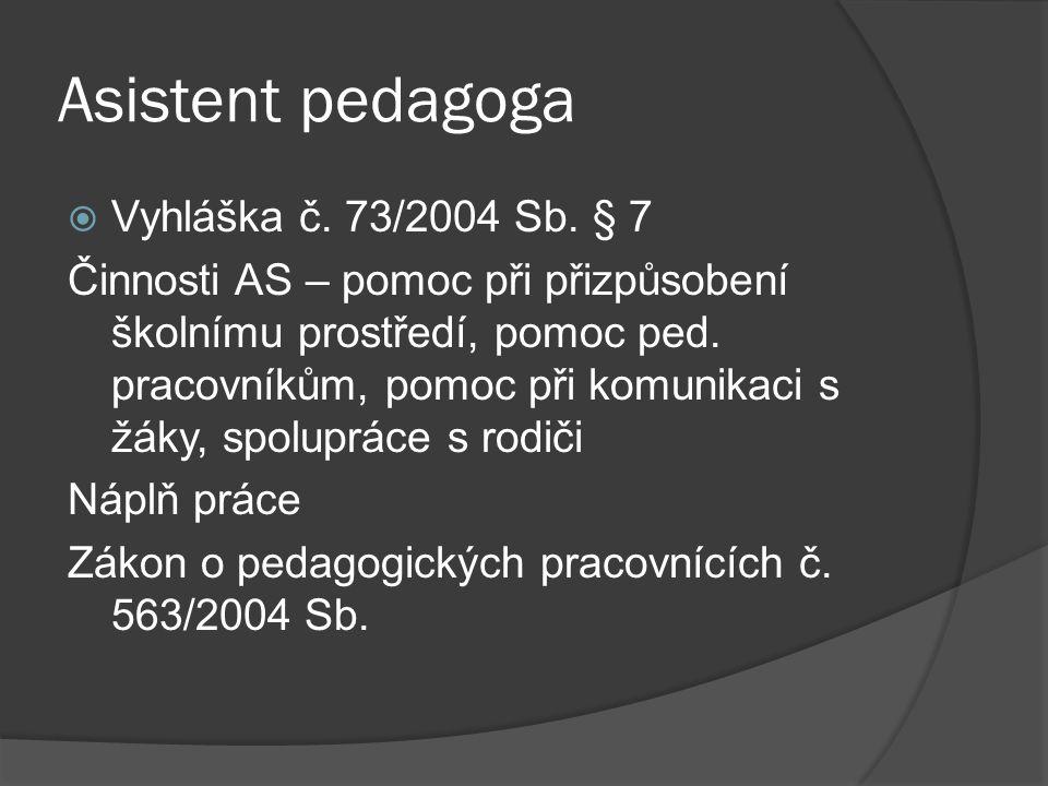 Asistent pedagoga Vyhláška č. 73/2004 Sb. § 7