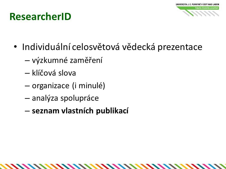 ResearcherID Individuální celosvětová vědecká prezentace