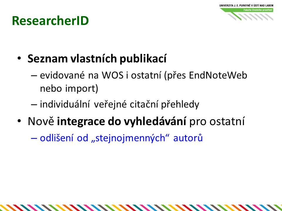 ResearcherID Seznam vlastních publikací