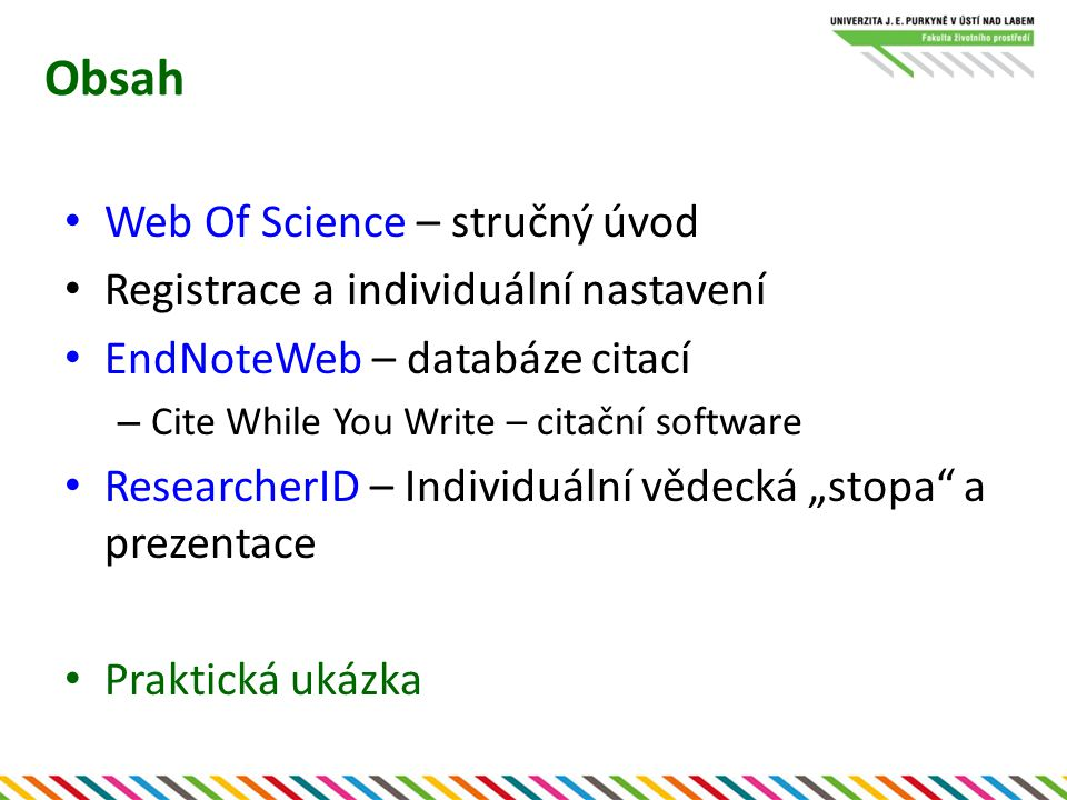 Obsah Web Of Science – stručný úvod
