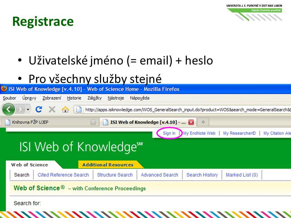Registrace Uživatelské jméno (= email) + heslo