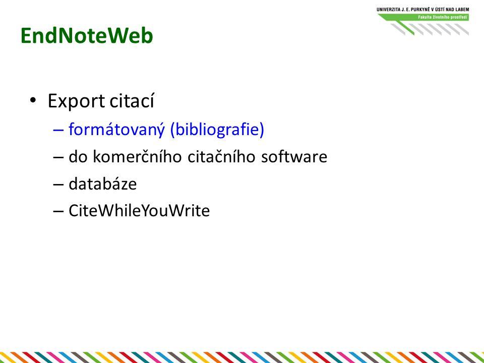 EndNoteWeb Export citací formátovaný (bibliografie)