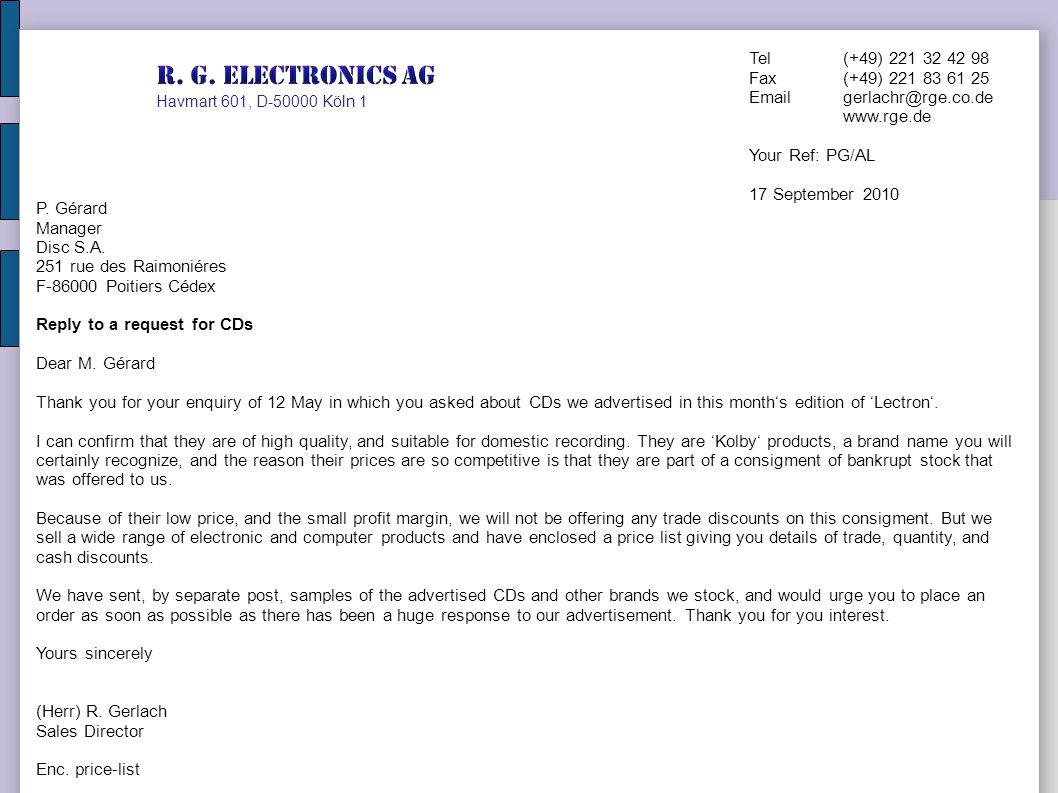 R. G. Electronics AG Tel (+49) 221 32 42 98 Fax (+49) 221 83 61 25