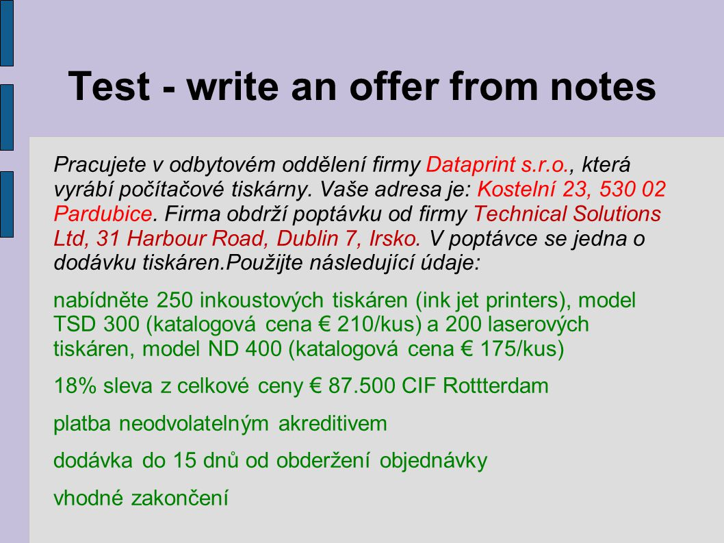 Test - write an offer from notes
