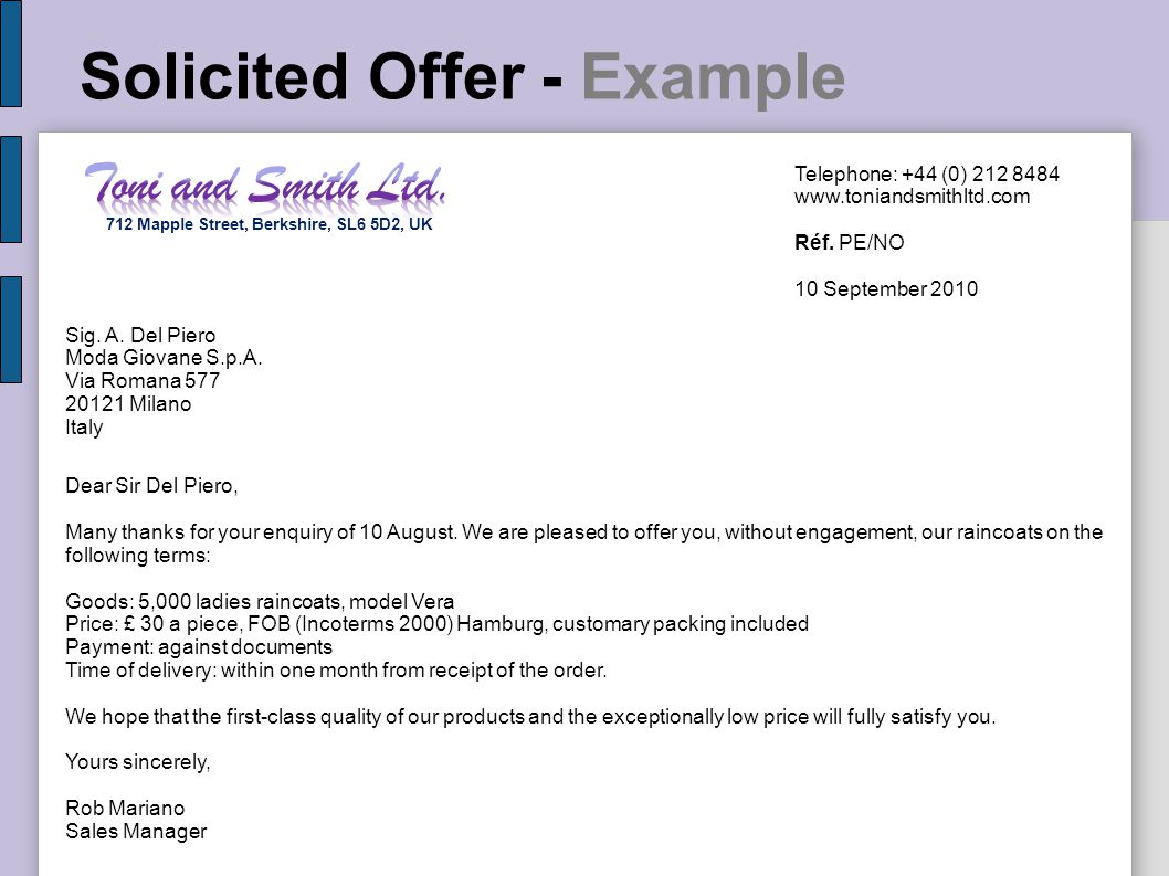 Solicited Offer - Example
