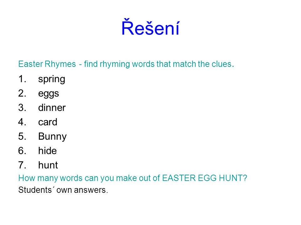 Řešení spring eggs dinner card Bunny hide hunt