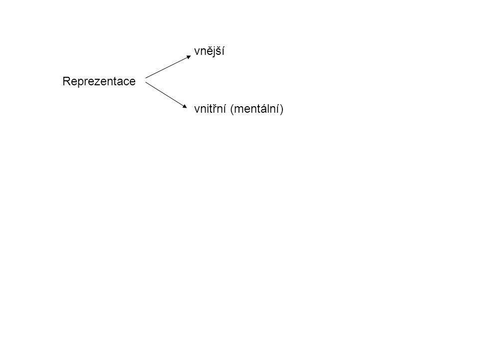 vnější vnitřní (mentální) Reprezentace