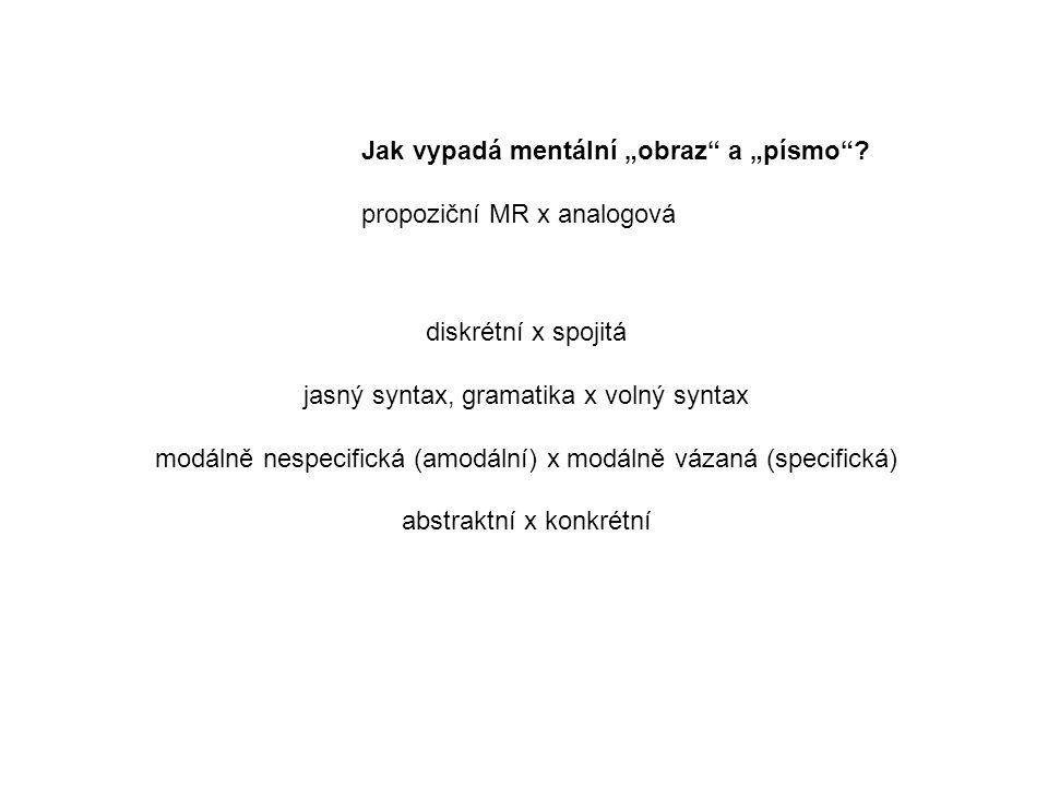 """Jak vypadá mentální """"obraz a """"písmo propoziční MR x analogová"""